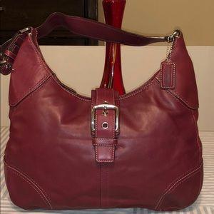 Coach Burbundy Leather Shoulder Bag